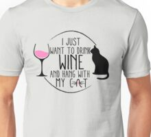 For the Cat & Wine Lovers Unisex T-Shirt