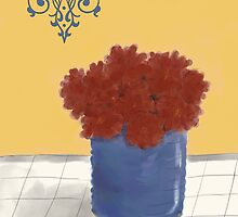 Red Mums in a Blue Pot by Sarah Countiss
