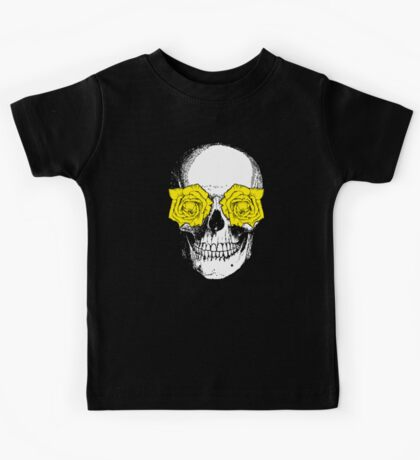 Skull and Roses | Grey and Yellow Kids Tee