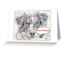 Scetch Portraite Merry Christmas Greeting Card