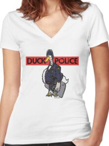 DUCK POLICE Women's Fitted V-Neck T-Shirt