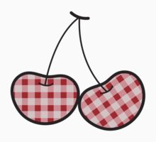 Red Plaid Cute Cheeky Cherries One Piece - Long Sleeve