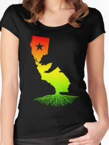 California Roots (rasta surfer colors) Women's Fitted Scoop T-Shirt