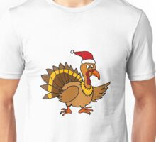 Funky Cool Turkey with Santa Hat Christmas Art Unisex T-Shirt