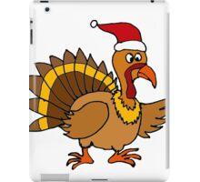 Funky Cool Turkey with Santa Hat Christmas Art iPad Case/Skin