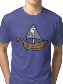 Cartoon Skull Pirate Ship Tri-blend T-Shirt