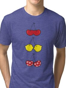 Fun Cute Cheeky Cherries Trio Tri-blend T-Shirt