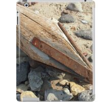 Wooden pole with an iron spike on the construction site iPad Case/Skin