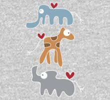 Cartoon Ellie, Giraffe & Rhino Trio One Piece - Long Sleeve