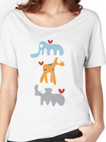 Cartoon Ellie, Giraffe & Rhino Trio Women's Relaxed Fit T-Shirt