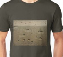 Top view of wet sand on the beach with tracks Unisex T-Shirt