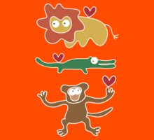 Cartoon Lion, Alligator & Chimpanzee Trio Kids Clothes