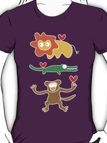 Cartoon Lion, Alligator & Chimpanzee Trio T-Shirt