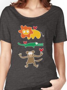 Cartoon Lion, Alligator & Chimpanzee Trio Women's Relaxed Fit T-Shirt