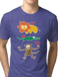 Cartoon Lion, Alligator & Chimpanzee Trio Tri-blend T-Shirt