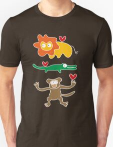 Cartoon Lion, Alligator & Chimpanzee Trio Unisex T-Shirt