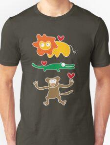 Cartoon Lion, Alligator & Chimpanzee Trio Unisex T-Shirt