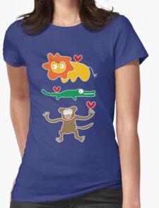 Cartoon Lion, Alligator & Chimpanzee Trio T-Shirt