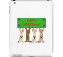 Happy Christmas from naked men wearing only holly. iPad Case/Skin