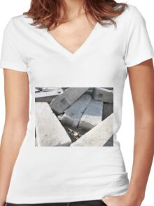 Large concrete building blocks closeup Women's Fitted V-Neck T-Shirt