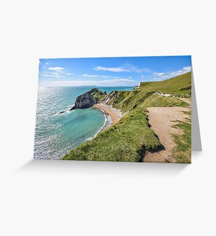 View over the beach at Durdle Door, Dorset, UK Greeting Card
