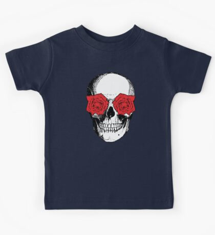 Skull and Roses   Grey and Red Kids Tee