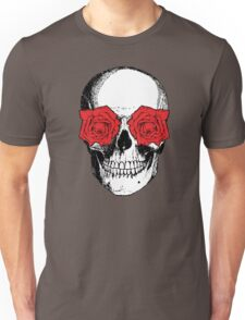 Skull and Roses | Grey and Red Unisex T-Shirt