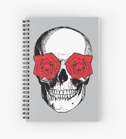 Skull and Roses | Grey and Red Spiral Notebook
