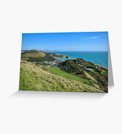 View towards Lulworth Cove, Dorset, UK Greeting Card