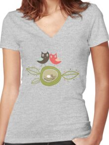 Whimsical Nesting Owl Family Women's Fitted V-Neck T-Shirt