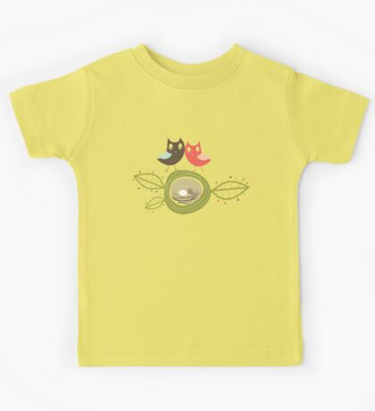 Whimsical Nesting Owl Family Kids Tee