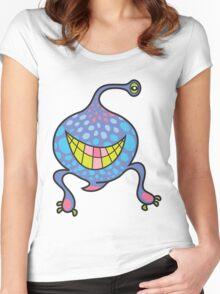 Mrs. Blob Cartoon Blue Monster Women's Fitted Scoop T-Shirt
