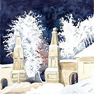 Winter gate at night (sketch) by SVETLANA ZOLOTAREVA