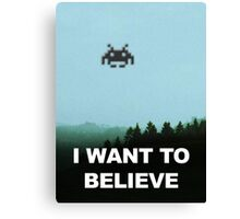 X-Invaders I want to Believe Canvas Print