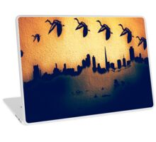 Golden Heron Over San Francisco Skyline Laptop Skin
