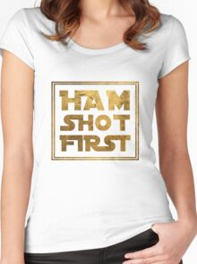 Ham Shot First - Gold Women's Fitted Scoop T-Shirt