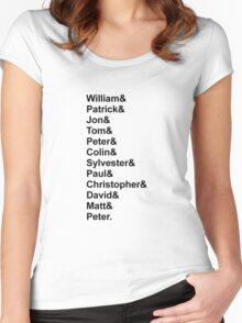Doctor Who Classic Names List Women's Fitted Scoop T-Shirt
