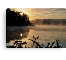 early morning fog over lake logan near hocking hills state park Canvas Print