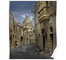 Siggiewi Malta --- Walking in the Rain Poster