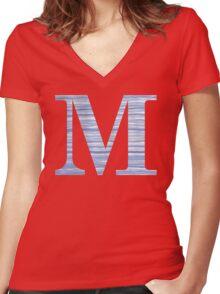 Letter M Blue Watercolor Stripes Monogram Initial Women's Fitted V-Neck T-Shirt