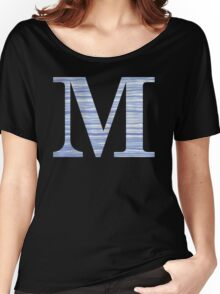 Letter M Blue Watercolor Stripes Monogram Initial Women's Relaxed Fit T-Shirt