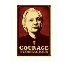 Julian Assange Courage Is Contagious Art Print