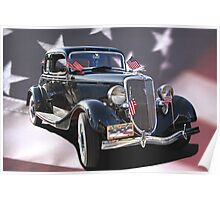 Patriotic 1934 Ford Coupe  Poster
