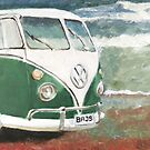 VW Campervan by the sea by BenSimsArt