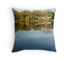 Lake Home on Late October Morning Throw Pillow