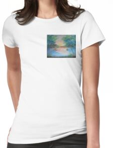 THE THIN GOLD MASK - sunset on the lake Womens Fitted T-Shirt