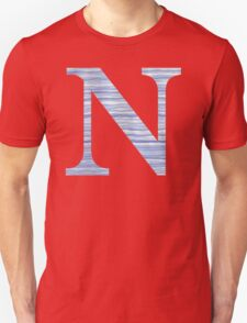 Letter N Blue Watercolor Stripes Monogram Initial Unisex T-Shirt