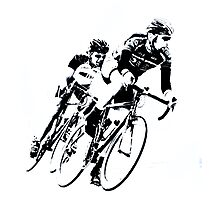 Black & White Cyclists into the Turn Photographic Print