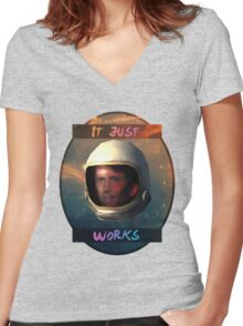 Todd Howard in Space just works Women's Fitted V-Neck T-Shirt