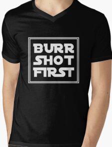 Burr Shot First - White Mens V-Neck T-Shirt